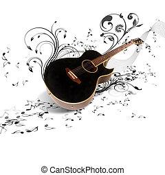 gitár, dekoratív, ellen, háttér