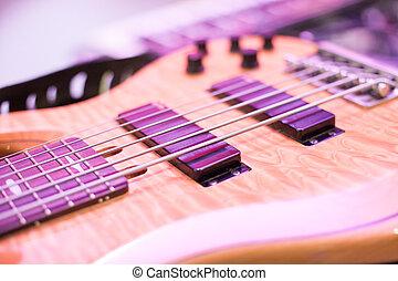 gitár, elzáródik, macro., vonósok