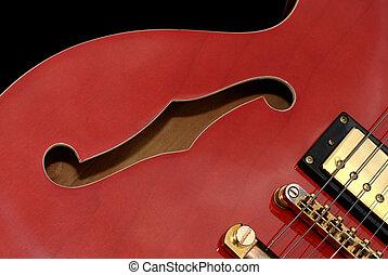 gitár, elzáródik, piros
