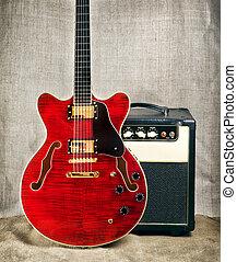 gitár, erősítő, semi-hollow