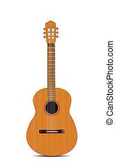 gitár, fehér, elszigetelt