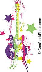 gitár, furcsa, graphic tervezés