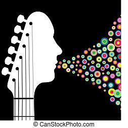 gitár, headstock, ember