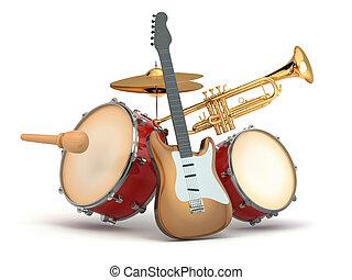 gitár, instruments., zenés, dobok, trumpet.