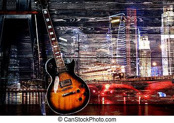 gitár, képben látható, éjszaka, város, háttér