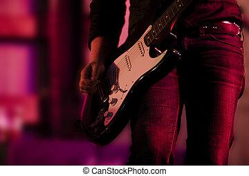 gitár, kéz, és, combok