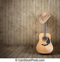 gitár, kalap, cowboy