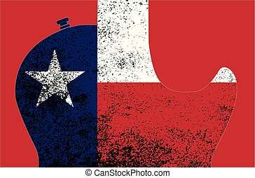 gitár, lobogó, árnykép, részletez, texas