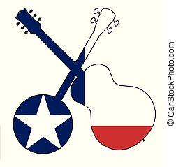 gitár, lobogó, bendzsó, árnykép, texas
