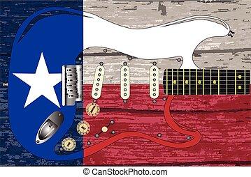 gitár, lobogó, elektromos, texas