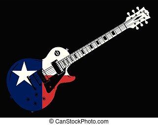 gitár, lobogó, elektromos, texas, ikon