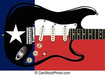 gitár, lobogó, texas