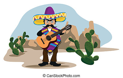gitár, mexikói, játék