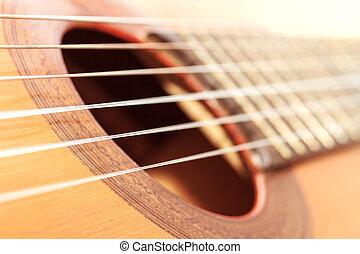 gitár, mező, mélység, sekély, klasszikus