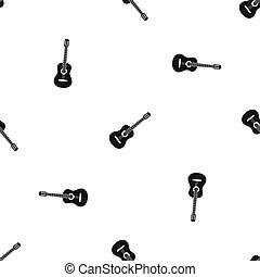 gitár, motívum, fekete, seamless