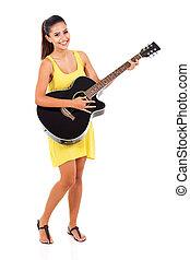 gitár, nő, játék