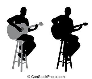 gitár, széklet, játékos, bár, ülés