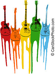 gitár, színpompás, zene, ábra