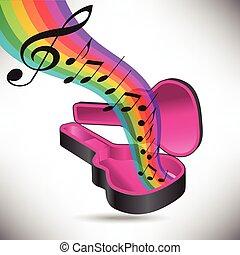 gitár, szivárvány, becsomagol, folyik, zene