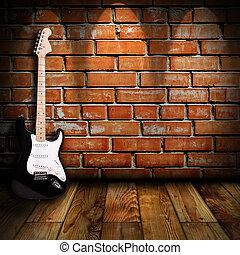 gitár, szoba, elektromos