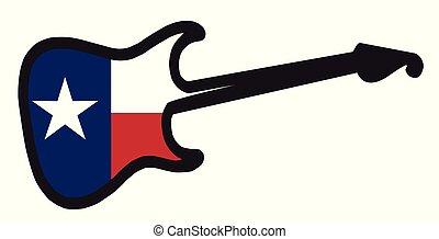 gitár, texasi, elektromos, lobogó