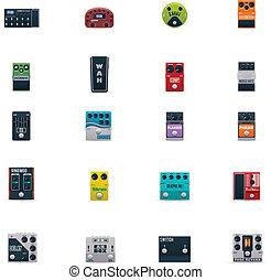 gitár, vektor, állhatatos, hat, ikonok