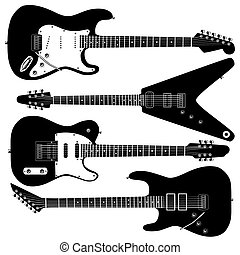gitár, vektor, elektromos