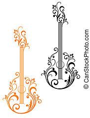 gitár, virágos, embellishments