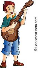 gitáros, énekes, hím, ábra