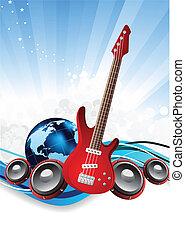 gitaar, aarde, vector, achtergrond