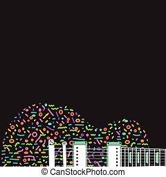 gitaar, abstract, kleurrijke, achtergrond