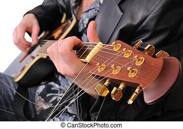 gitaar, akoestisch, musicus, zijn, toneelstukken