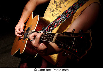 gitaar, akoestisch, -, muziekband