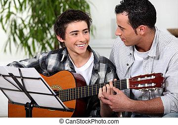 gitaar, akoestisch, vader, zoon