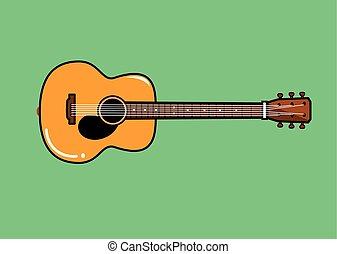 gitaar, akoestisch, vector, illustratie