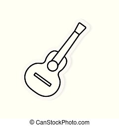gitaar, akoestisch, vector, illustratie, icon-