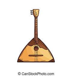 gitaar, balalaika, muziek instrument, folk-music, vrijstaand