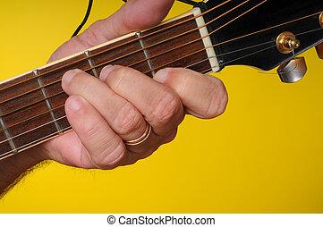 gitaar, c, snaar, majoor