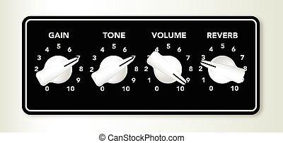 gitaar, chicken, knoppen, hoofd, ampifier
