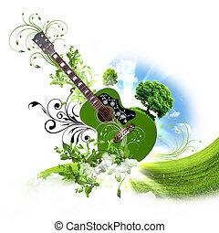 gitaar, decoratief, tegen, achtergrond