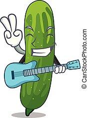 gitaar, fris, komkommer, vrijstaand, spotprent