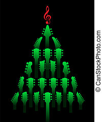 gitaar, gemaakt, boompje, headstocks, kerstmis