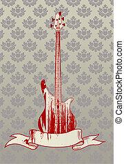 gitaar, illustratie, baars, vector