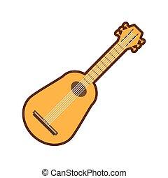 gitaar, instrument, muzikalisch, spotprent, pictogram