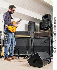 gitaar, jam, kamer, elektrisch, spelend
