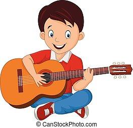 gitaar, jongen, spotprent, spelend