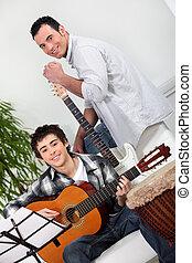 gitaar, jongen, tiener, les, hebben