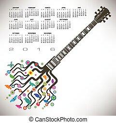 gitaar, kalender, 2016, kleurrijke
