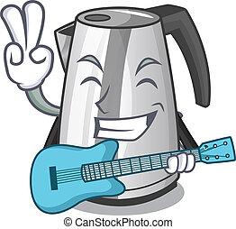 gitaar, ketel, elektrisch, keuken, mascotte