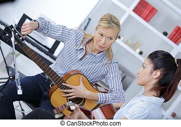 gitaar, leraar, stemming